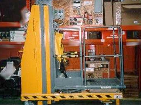 side view of the manual electric vertical  hydraulic lift