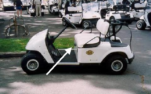 photo of the same model golf cart involved in the incident (side view).  Arrow points to the direction control lever