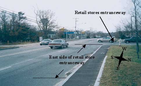 Figure 1 - Victim's location.  East side of the entranceway to retail stores.