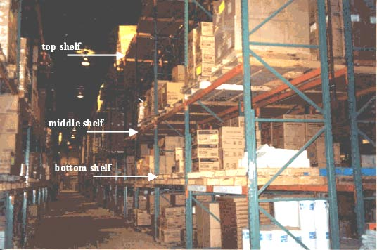 Figure 1 - Warehouse shelving, location where victim fell