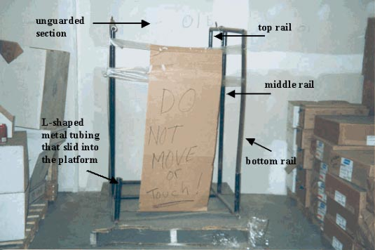 Figure 4 - Guardrail system unattached from the pallet and positioned on one end.