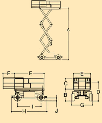 Figure #1. Drawing of lift with dimensions, etc