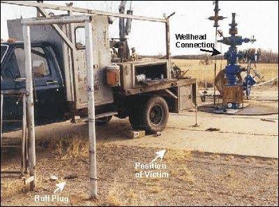 Position of victim in relation to the wellhead and location of bull plug after it flew out of the wellhead and struck the victim