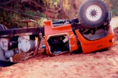 Figure 2. Close View of Crushed Truck Cab