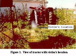 view of tractor with victim's location