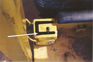 photo shows the transmission selector lever in 2nd speed reverse