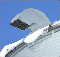 Photo 2 -- Roof vent with horizontal opening, which allows blown-in snow