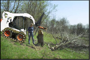 Electronic Image 1 - Approximate position of loader and raised tree shear attachment, looking from the side.