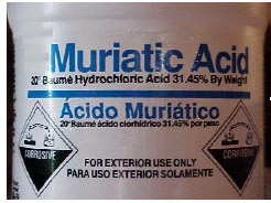 photo of the bottle of liquid muriatic acid