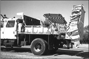 impact truck with damaged arrow board and impact attenuator