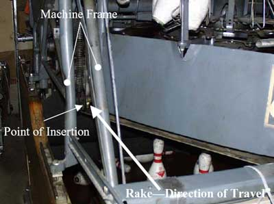 Figure 2. Area where victim leaned into the pinsetter machine.