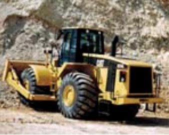 View of a rubber tire bulldozer similar to the one involved in the incident