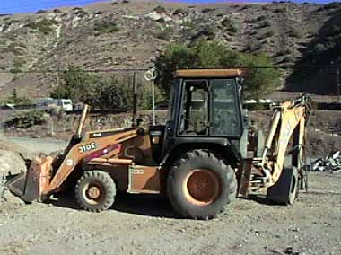 View of the backhoe involved in the incident