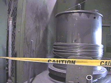View of the rotating drum showing the area where the victim got pulled into.