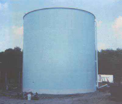 Picture of water tank where two men died as a result of falling when a cable slipped on suspended scaffolding.