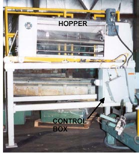 Photo of the framework identifying the hopper and control box.