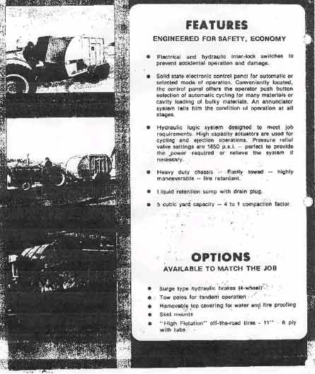 Page 2 of  manufacturer's two page handout obtained through company archives showing basic features