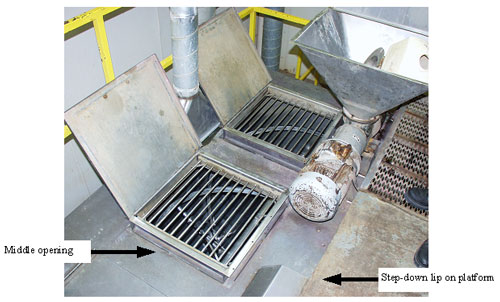Picture #4 shows the middle grate where victim entered and the step-down between the work platform and mixer top.