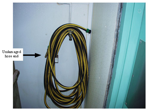 Picture #6 shows undamaged hose end.