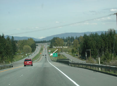 view traveling down the highway east toward the incident site