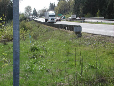 Possible roadside option site at the bottom of the hill where a trailer might be able to load/unload. This site would give good protection, behind a guardrail