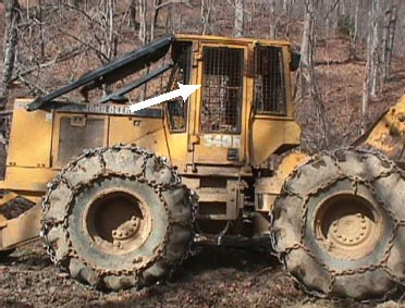 Figure 1.  This is the skidder which ran over the victim. The arrow points to one of two doors which were not present the day of the incident.