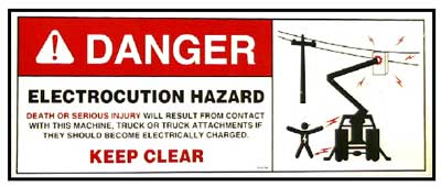 Danger, Electrocution Hazard warning sign example.