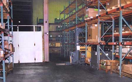 Photo 2 - Wide view from the left of the forklift, showing the T-intersection.
