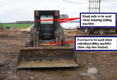 The operator should always have the bucket in the downward position, the parking brake set and the machine turned off and use three-point contact when entering or exiting a skidsteer.