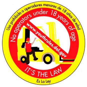 Figure 2 - Young worker forklift safety sticker