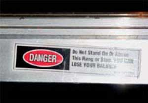 Figure 3. Sticker on ladder involved in fall.