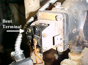 Figure 4. Low water switch terminals after victim contact