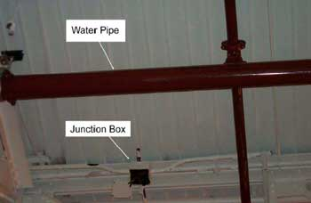 Figure 2. Junction Box and Water Pipe Involved in the Fatality - Truss is not Visible.