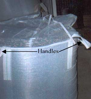 Figure 3. Open, filled bean tote, handles noted.