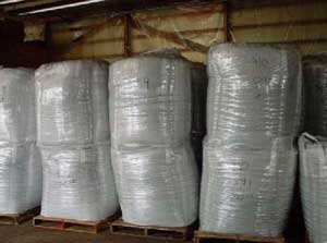 Figure 6. Plastic-wrapped double-stacked flexible tote bags.