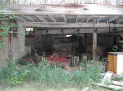 Figure 1. Storage area in barn for rotary mower.