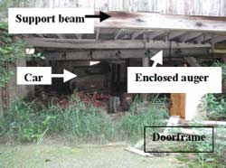 Figure 3. Enclosed auger, door frame, car, support beam.