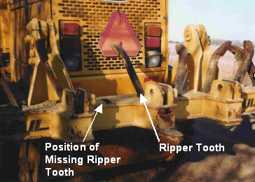 Figure 2. Dispatched Grader with Ripper Tooth Missing