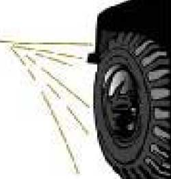 Illustration of tire on road.
