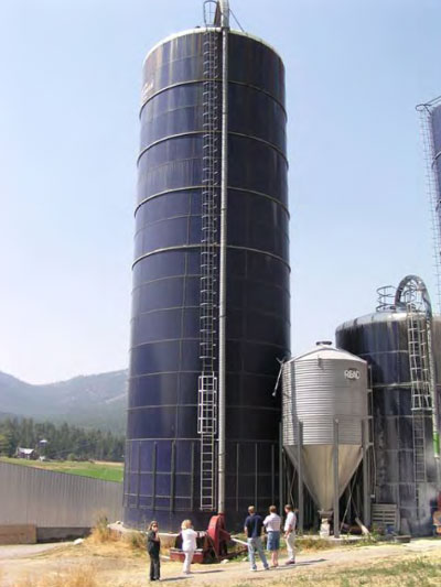 the silo from ground-level