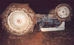 Figure 1. The tractor after it overturned.