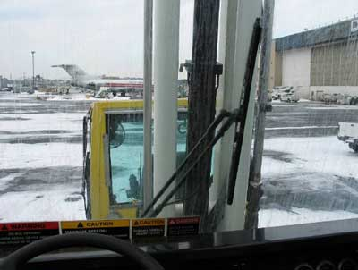 windshield from inside the cab of the deicing truck