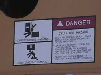 EExhibit #5. A picture of the safety placard on the crane.