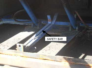 Exhibit 3. The safety bar used to hold the dock plate in the raised position when access is needed underneath.