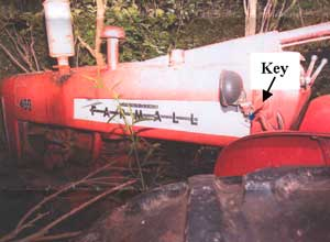 Figure 3. Farmall Tractor and key location.