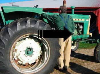 Figure 1. MIFACE researcher standing in victim's probable location while starting tractor and tractor movement.