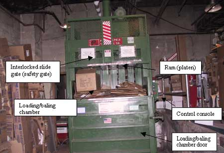 Figure 2. A vertical down-stroke baling machine in the department.