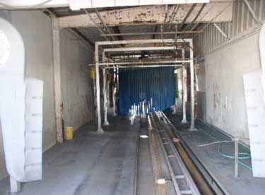 the car wash tunnel looking from the tunnel exit
