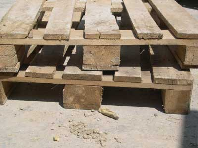 Exhibit 4. This type of pallet is strong enough to support stacked concrete and stone castings.