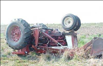 Tractor overturned in a field